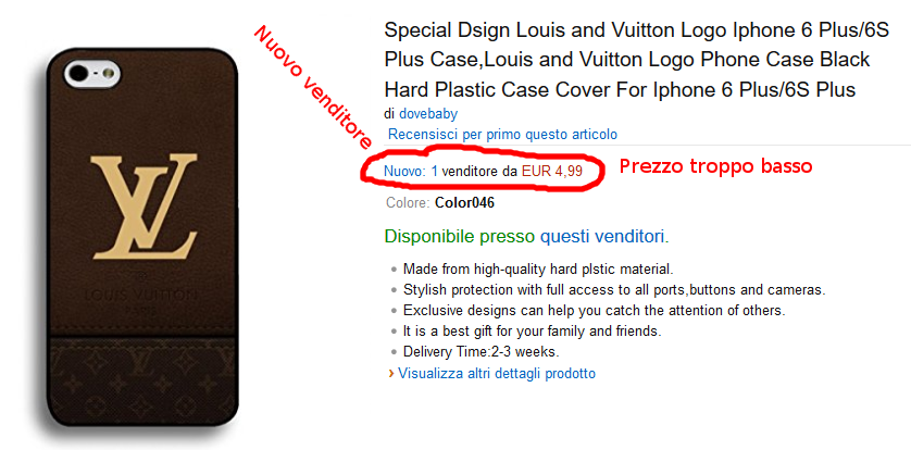 Custodia falsa Iphone Louis Vitto su Amazon