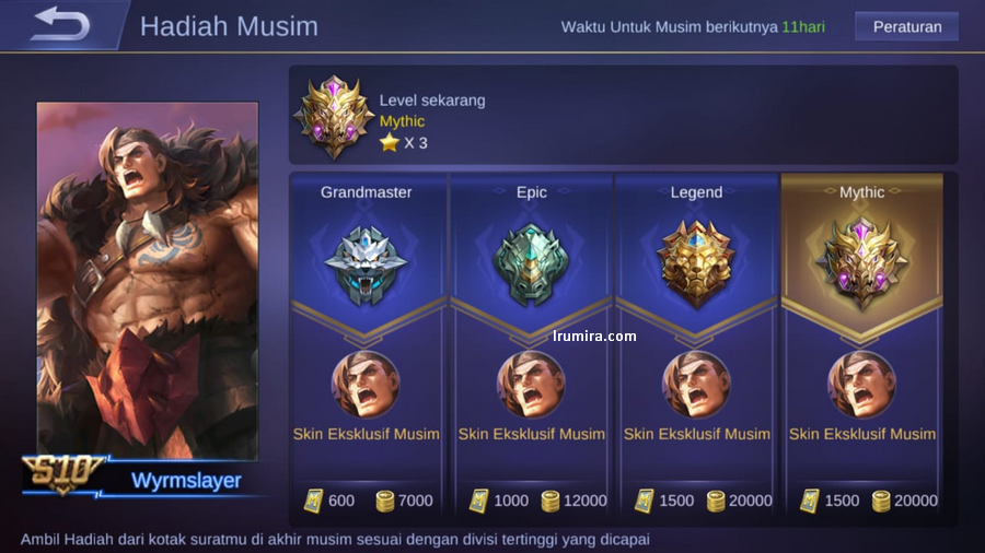 hadiah season 10 mobile legends