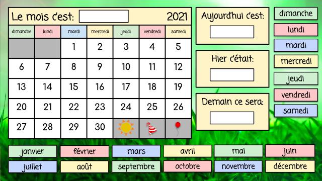 Interactive French Calendar - juin 2021