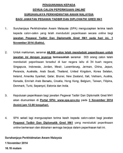 Statistik calon yang menjawab Peperiksaan Online Jawatan Pegawai Tadbir dan Diplomatik (PTD) M41 tahun 2014