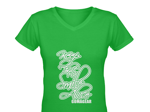 GOMAGEAR KTSA KEEP THAT SMILE ALIVE WOMEN V NECK T-SHIRT - G