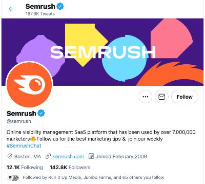 professional twitter bio examples semrush