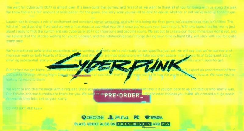 Cyberpunk 2077 Release Trailer Contains Hidden Message From CD Projekt RED