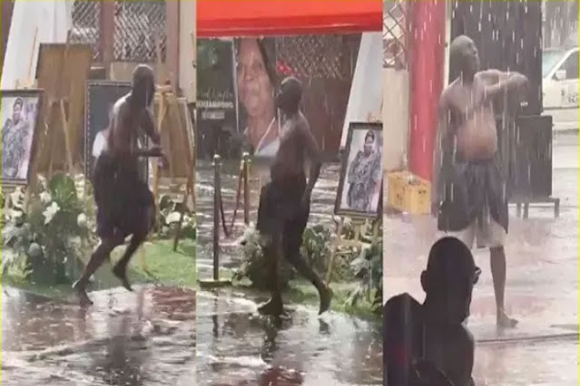 Moment a Powerful Ghanaian man commanded rain to stop during a funeral (Video)