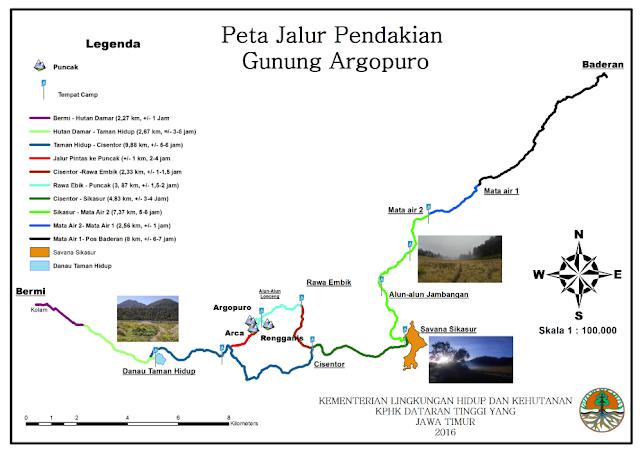 Peta Pendakian Gunung Argopuro via Baderan