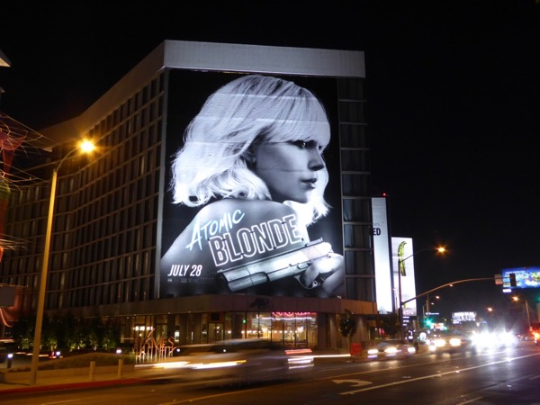 Atomic Blonde movie billboard sunset strip night