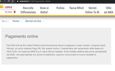 Istruzioni di pagamento AMA Roma