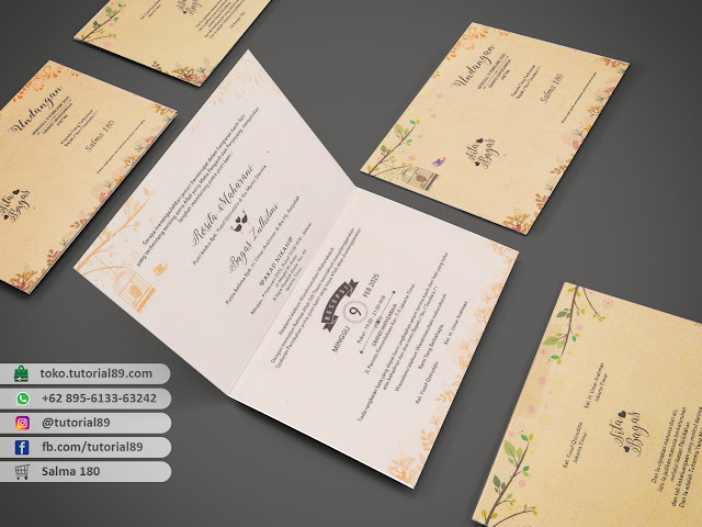 Undangan pernikahan 89S180 - Seimpel Lipat 2 +stiker label undangan