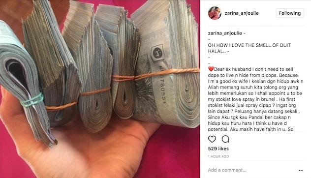 Zarina Anjoulie Gaduh 'Berperang' Dengan Bekas Suami Di IG