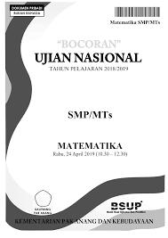 BOCORAN SOAL UN MATEMATIKA SMP 2019
