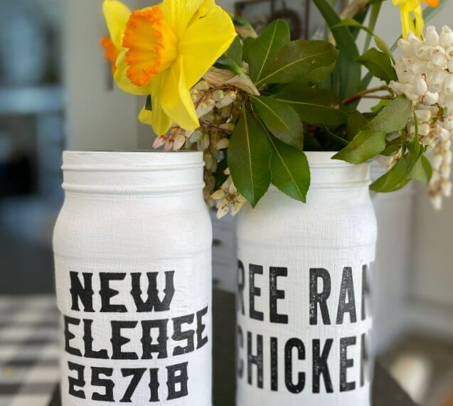 Painted Mason Jar Vase with a Farmhouse Transfer Design