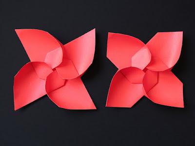 Origami, confronto, Girandola modulare e variante - Modular Pinwheel and variant