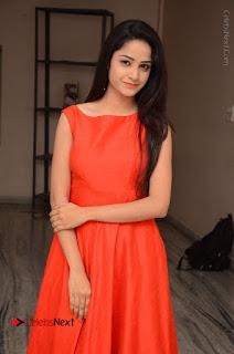 Telugu Actress Divya Nandini Stills in Orange Sleeveless Gown at Chennai Chaitrama Movie le Launch Event  0009.JPG