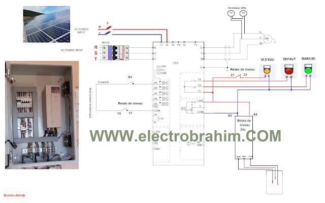 شرح دائرة تشغيل مغير التردد viechi بالطاقة الشمسية  schéma du branchement du variateur du vitesse