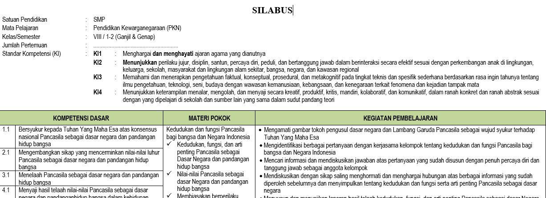Silabus Pkn Smp Mts Kelas 8 Semester Ganjil Kurikulum 2013 Tahun Pelajaran 2020 2021 Didno76 Com