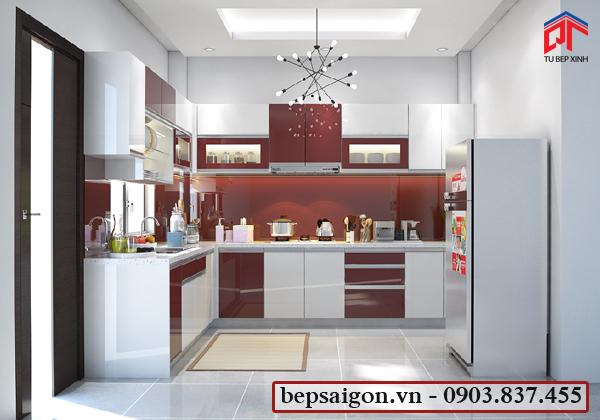 tủ bếp gia đình, tủ bếp hiện đại, tủ bếp acrylic