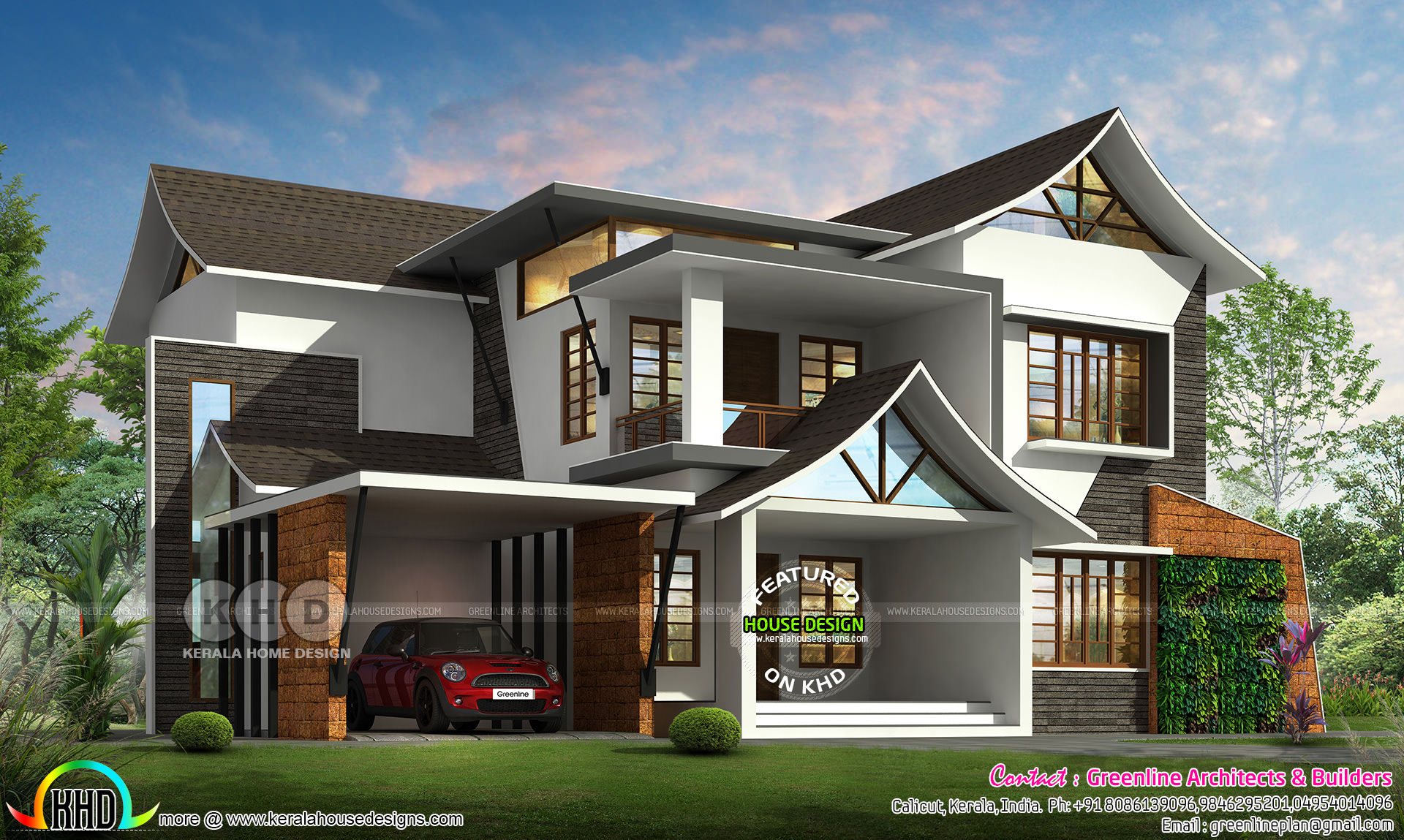 3176 Sq Ft Modern Style Sloped Roof House Plan Kerala Home Design Bloglovin