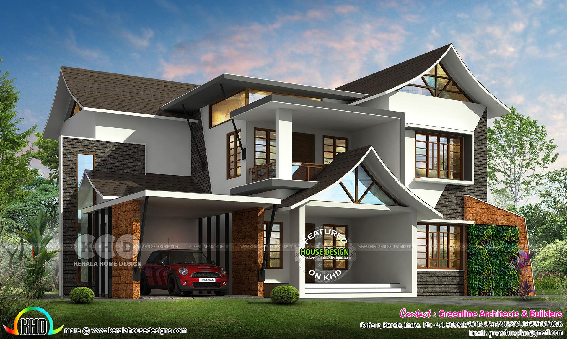 3176 Sq Ft Modern Style Sloped Roof House Plan Kerala