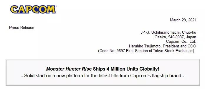 Informasi dari CAPCOM terkait penjualan Monster Hunter Risenya