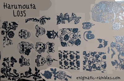 Stamping-Plate-Review-Harunouta-L035-Skull-Rose-Pattern-Halloween