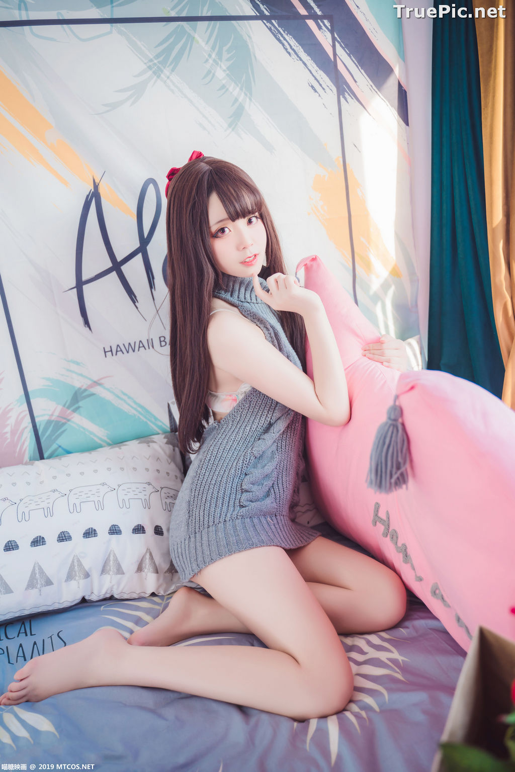 Image [MTCos] 喵糖映画 Vol.030 – Chinese Cute Model – Open Back Sweater - TruePic.net - Picture-7
