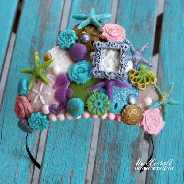 Mermaid inspired headband crown diy.