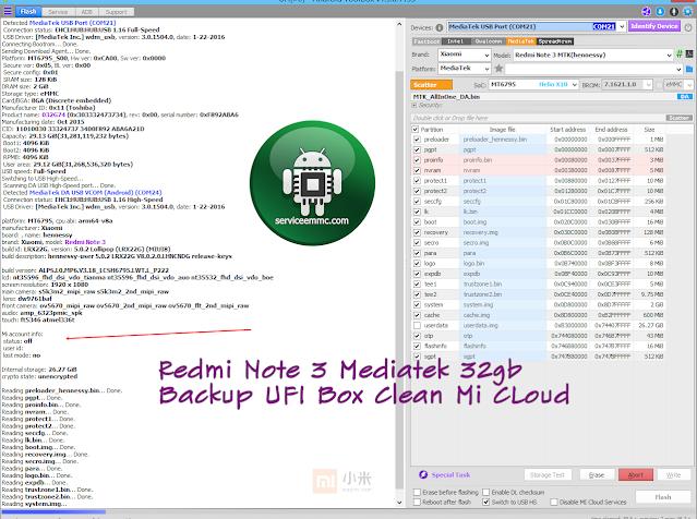 Firmware Redmi Note 3 Mediatek 32gb Backup UFI Box_Clean Mi CLoud