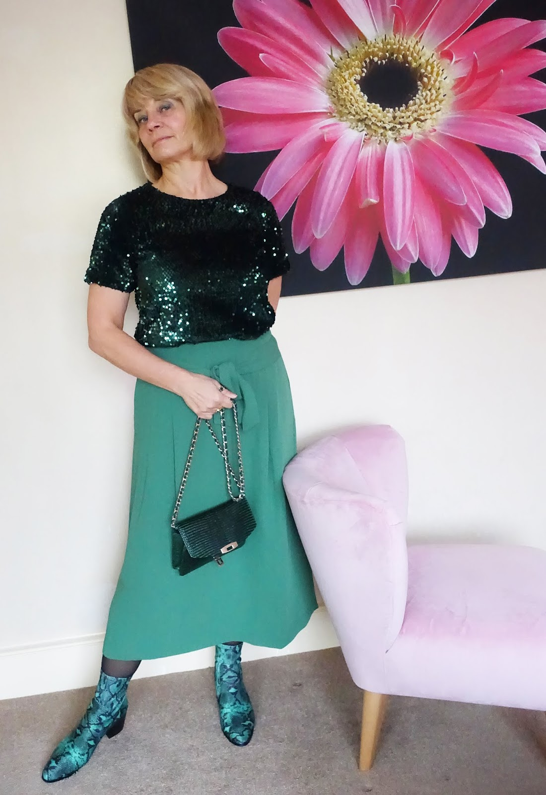 Over 50s style from Is This Mutton: green sequin top worn with green midi skirt from Boden and green snakeskin ankle boots