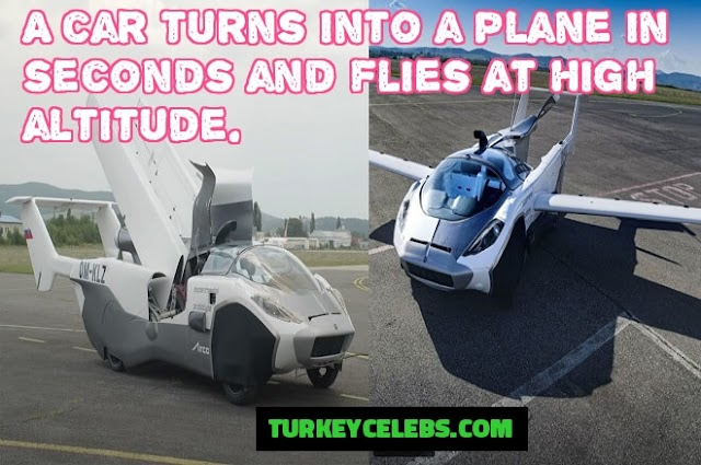 A car turns into a plane in seconds and flies at high altitude.