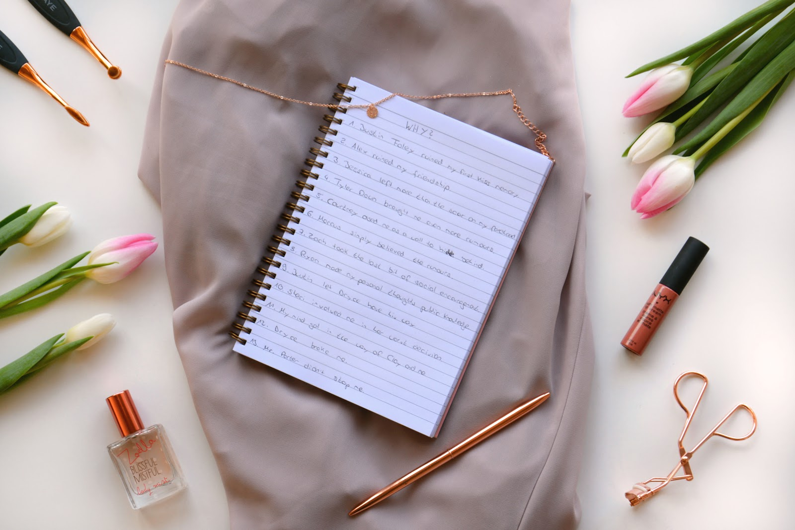 Notebook with the 13 reasons; Lahaye Brushes; Tulips; Primark Accessories