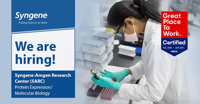 Syngene- Amgen Research Center(SARC) Hiring for Associate Scientist- Cell Culture & Molecular Biology share your CV