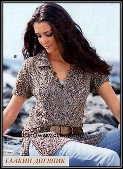 ajurnii pulover s korotkim rukavom spicami