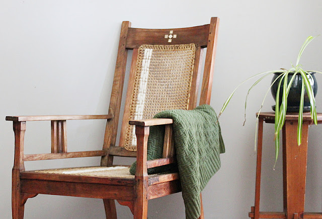 Thrifty Thursday Upcycled Boho Antique Rattan Chair