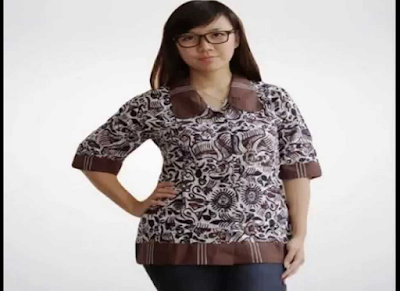 model baju atasan batik casual wanita gemuk