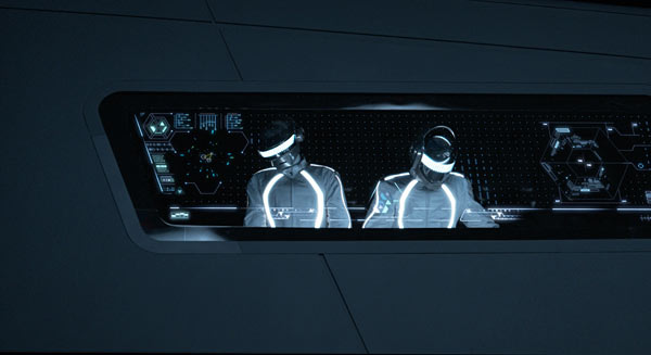 Daft Punk provides Michael Sheen with the perfect soundtrack to chew the scenery to during Tron: Legacy.