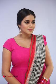 Actress Poorna Pictures in Red Salwar Kameez at Jayammu Nischayammu Raa Teaser Launch  0042.JPG