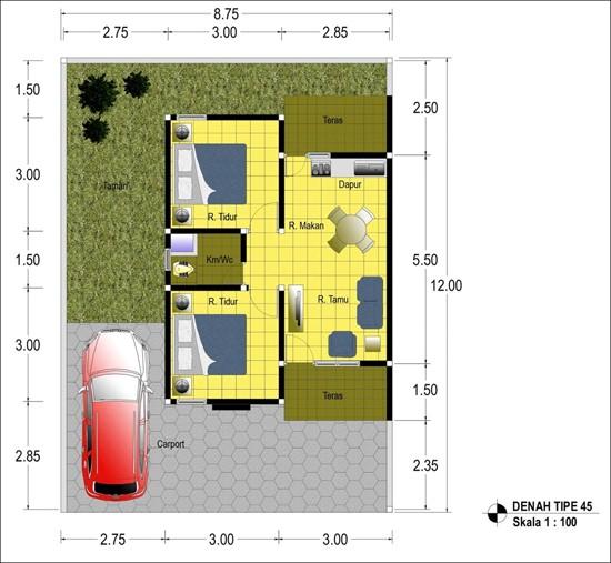 contoh gambar denah rumah type 45 4