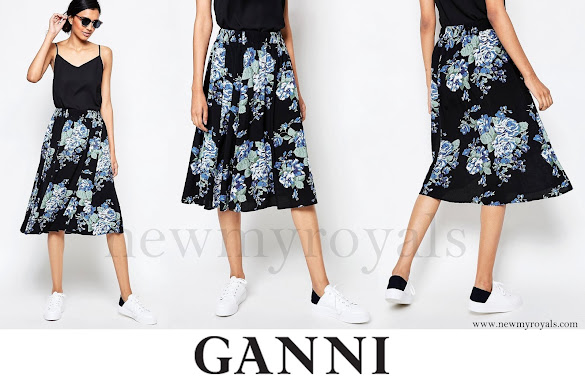Princess Marie wore Ganni Blue Flower Print Midi Skirt