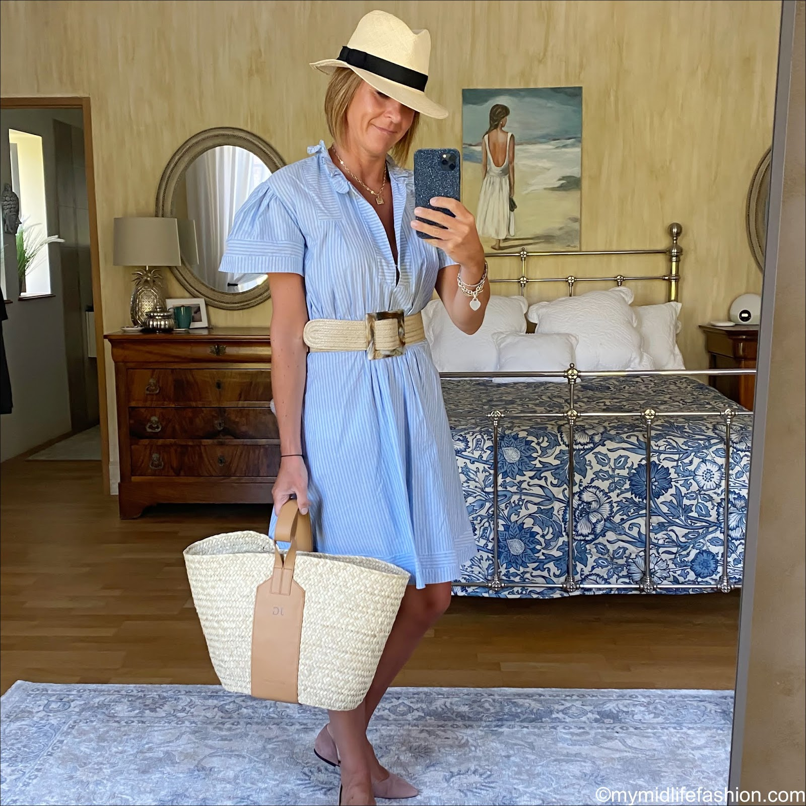 my midlife fashion, H&M Panama hat, Burberry stripe cotton summer dress, are feather grace monogrammed basket shopper, h and m suede cut out ballet flats
