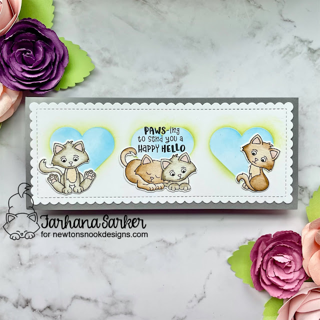Kitten Slimline card by Farhana Sarker | Smitten Kittens Stamp Set, Slimeline Frames & Portholes Die Set and Slimline Masking Hearts Stencil Set by Newton's Nook Design