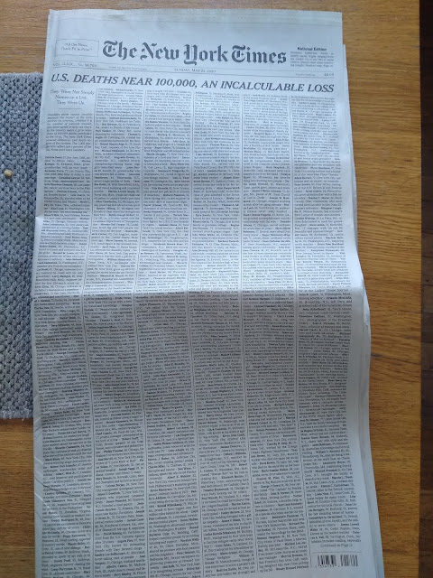 """Photo of the front page of The NY Times, May 24, 2020, with headline """"U.S. Deaths Near 100,000, An Incalculable Loss"""""""