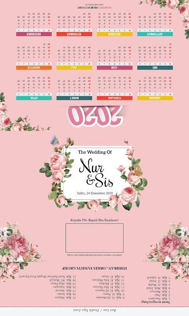 Undangan Pernikahan Murah dengan Kalender dan Tema Bunga - Walimahanid | 0812-1141-8687