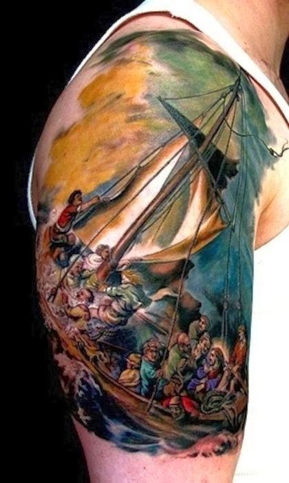 Tatuaje de La balsa de la Medusa de Delacroix
