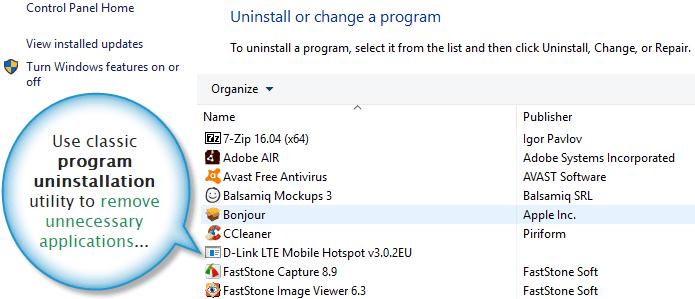 Classic programs uninstallation utility for Windows