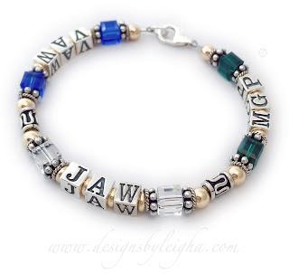 Gold Monogram Bali Birthstone Bracelet for Grandma - VAW JAW MGP