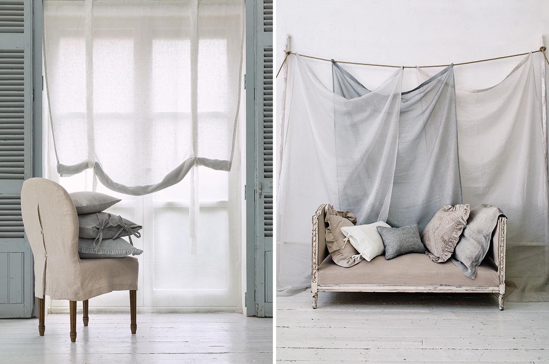 Tessuti in lino grezzo shabby chic interiors for Succi arredamenti