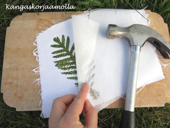 Lehtivihreällä kuvioita kankaalle