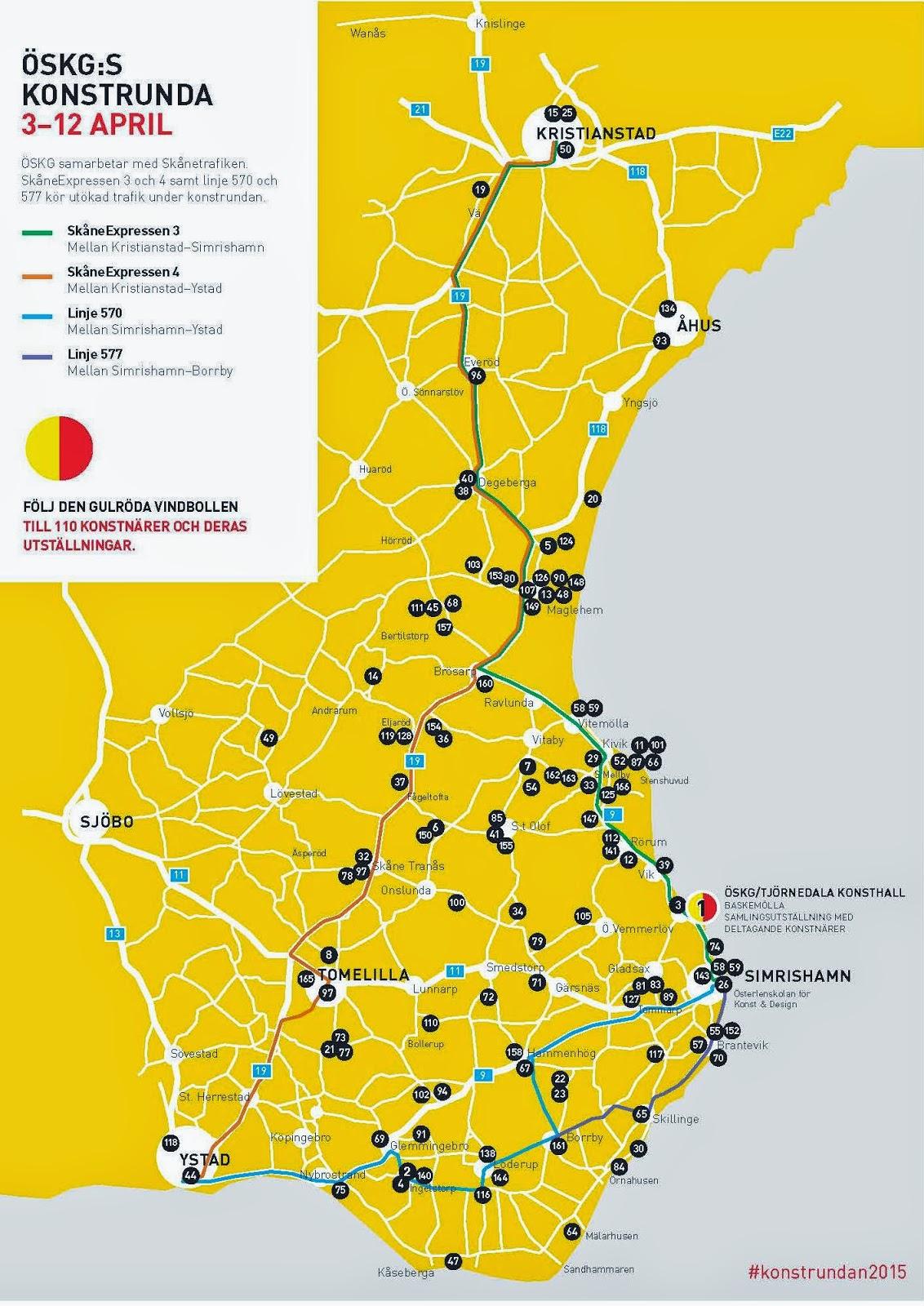 konstrundan skåne karta Konstrunda på Sydkusten   påsken 2015 | Sydkusten Skåne konstrundan skåne karta