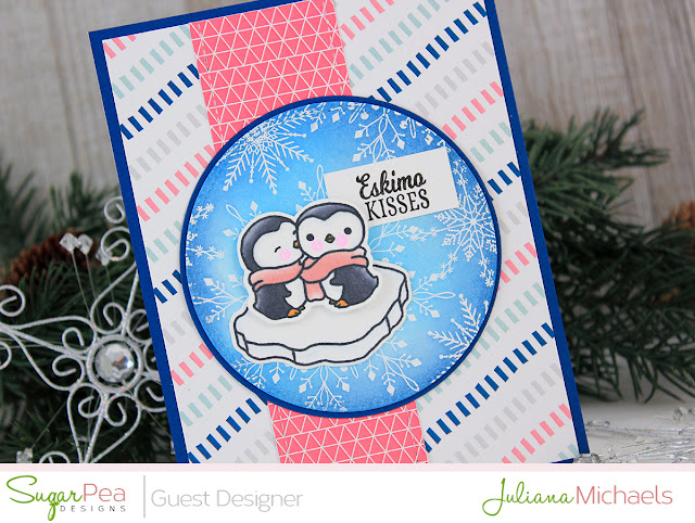 Eskimo Kisses Penguin Card by Juliana Michaels featuring Eskimo Kisses and Flurry of Warm Wishes Stamp Set by SugarPea Designs
