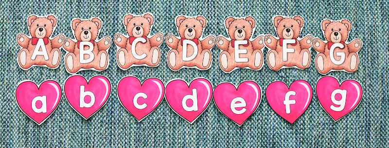 Valentine's Day MATCHING UPPERCASE AND LOWERCASE LETTERS